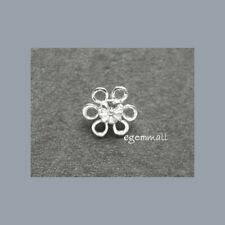 Silver Flower Pendant / Connector 10mm 10PC  #51158