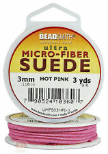 Hot Pink Micro-Fiber Faux Leather Suede Lace 2.74m Beading Cord Spool 3 Yds.