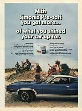 1976 Simoniz Presoft Car Wax Ad w Kawasaki Dirt Bikes Plymouth Satellite Sebring