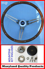 "1984-90 Ford TBird Escort Crown Vic EXP Grant Wood Steering Wheel 15"" SS spokes"