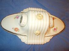 Vintage-Antique- Porcelain- 2 Hole-Ceiling Light Fixture -floral transfer print