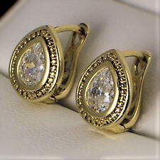 9ct Yellow Gold Filled Clear Zirconia Tear Water Drop Huggie Earrings UK New 335