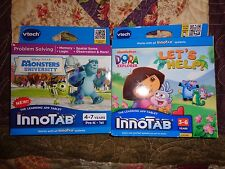 2 GAME LOT VTECH INNOTAB CARTRIDGES DISNEY MONSTERS UNIVERSITY & DORA LET'S HELP
