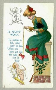Leap Year, Woman Fishing for Man With Heart, Cupid, 1908 Signed H, Postcard