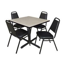 """Cain 36"""" Square Breakroom Table- Maple & 4 Restaurant Stack Chairs- Black"""