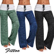 Women Solid Soft Yoga Lounge Sport Wide Leg Casual Loose Long Pants Trouser K054