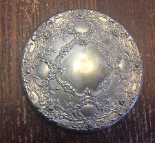 Vintage Silver Aged Metal Victorian Look Round Vanity Large Hand Mirror