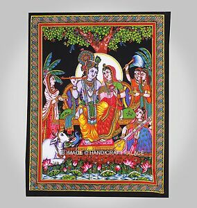 Handmade Hindou Lord Krishna Radha Ethnique Indien Décoration Art Mural Tenture