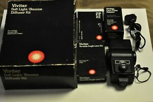 Vivitar model 283 electronic flash with accessories shown. Tested.