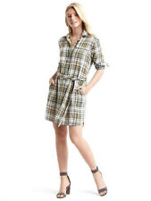 Gap XS Green Gauzy Plaid Shirtdress Shirt Dress  0 2 XS