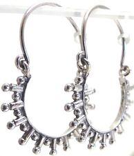 """3.86G Gorgeous 1.26"""" Solid 925 Sterling Silver Antiqued Balinese Hoop Earrings"""