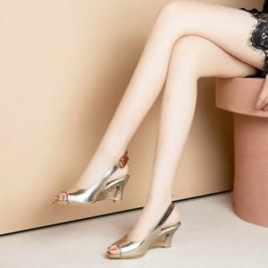 Sexy Slingback Sandalen Damen Keilabsatz Peeptoe Schnalle Pumps Highheels Schuhe
