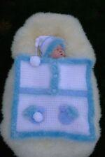IO credo * * in * GLI ANGELI Blu/Bianco Inverno Car Seat/bugggy COPERTA E Cappello Bambino/doll