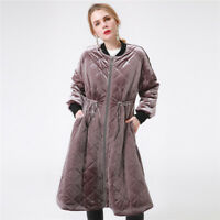 Winter Women Velvet Puffer Coats Long Parka Quilted Basic Jacket Zipper Outwear