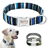 Personalized Dog Nylon Collars for Small to Large Dogs Engraved ID Name Buckle