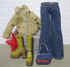 "Bratz 10"" girl Doll Clothes Outfit Shoes-Velour Hoodie Jeans Purse Brown Boots"