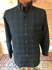 Sir Pendleton Mens Button Down Long Sleeve Plaid Black Watch Tartan 100% Wool Sm