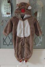Matalan Reindeer Christmas Romper All In One Snowsuit Unisex 0-3 Months BNWOT
