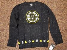 NHL Boston Bruins Girls L Holiday Fleck Sweater Large 14/16 black