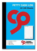 Cherry Petty Cash Log Book A5 (148mm x 210mm) 100 pages 80gsm