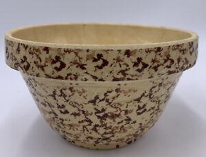 "Vintage Primitive Farm Robinson Ransbottom BROWN Spongeware 8"" Mixing Bowl USA"
