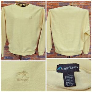 KEENELAND RACE HORSE TRACK Med YELLOW SWEAT SHIRT HORSE LOGO TEXTURED COTTON