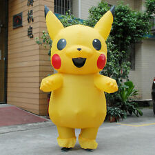 Inflatable Pikachu Mascot Costume suits Cosplay Halloween Funny Adults Dress new
