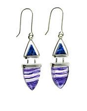 Natural Gem 925 Sterling Silver Earrings Fluorite & Lapis Drop Hook Earrings