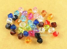 New 200Pcs 6mm Mixed Color Acrylic Spacer Loose Bicone Beads