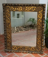 "SUPERB ANTIQUE 19c. FRENCH CARVED ORNATE GILT WOOD MIRROR ~ 27""x34"""