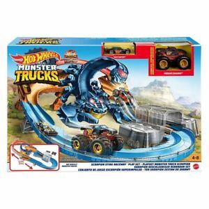 Mattel GNB05 - Hot Wheels - Monster Trucks - Skorpion-Rennbahn mit 2 Fahzeugen