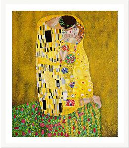 The Kiss by Gustav Klimt 75cm x 62.5cm Framed White