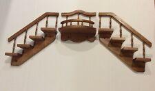 Vintage Oak Wood Wall Hanging Stairstep Shelves & Landing Knicknacks