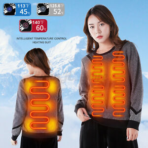 Unisex Women Electric Heated Sweater Cotton Coat USB Heating Winter Warm Clothes