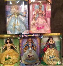 Set Of 5 Barbie Doll Collector's Beauty, Snow White, Cinderella, Repunzel, B&B