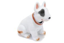 Whimsical Bobblehead Bull Terrier Dog with Car Dashboard Adhesive