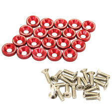 20 PC RED JDM BILLET ALUMINUM FENDER/BUMPER WASHER/BOLT ENGINE BAY DRESS UP KIT