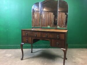 Edwardian Triple Mirror Walnut Dressing Table. Courier Available.