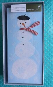 Papyrus Glittered Snowman Happy Holiday Note Cards 10 cards & 10 lined envelopes