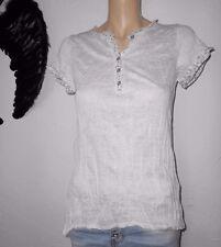 D&F Italy Shirt Bluse 36-38 weiss Knopfleiste Mille Fleur Blüten Knitter LEINEN