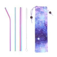5X Reusable Drinking Straw Bar Accessories Eco-Friendly Metal Straws With Bag