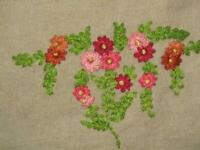 """Vintage 1940s Unused Embroidered Linen Tablecloth/Bedspread 56"""" x 99 1/2"""""""