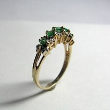14K Yellow Gold Snake Patterned Emerald & Diamond Ring