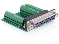 delock® 25-pol pin sub-d buchse an terminalblock lpt-terminal test-adapter neu