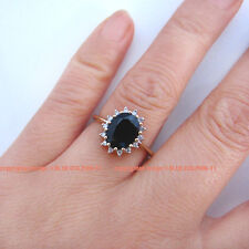 Genuine Natural Diamond Dark Blue Sapphire Solid 9CT Yellow Gold Engagement Ring