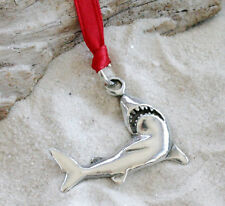 SHARK GREAT WHITE Pewter Christmas ORNAMENT Holiday
