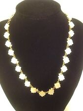 J Crew White Square Shell With Gems Necklace And Bracelet Set