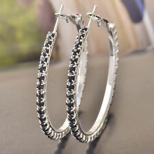 Pretty New 9K Silver White Gold Filled Black Onyx Crystal CZ Round Hoop Earrings