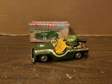 US ARMY TIN FRICTION GUN JEEP WITH Wooden Pellet Shooting Action in Box