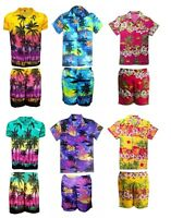 MENS HAWAIIAN SHIRT SHORT  SET STAG BEACH HAWAII ALOHA  SUMMER HOLIDAY FANCY D8